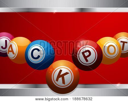 Bingo Lottery Balls Forming the Word Jackpot Over Deep Red Background with Metallic Frame