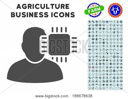 Neuro Interface gray icon with agriculture commercial glyph set. Vector illustration style is a flat iconic symbol. Agriculture icons are rounded with blue circles.
