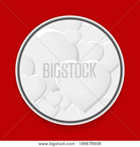 3D Illustration of Metallic Border with Hearts Over Red Background
