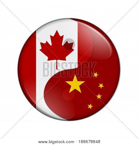 Canada and China working together The Canadian flag and Chinese flag on a yin yang symbol isolated over white 3D Illustration