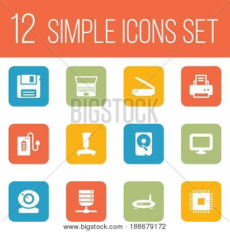 Set Of 12 Computer Icons Set.Collection Of Hard Disk, Supply, Display And Other Elements.
