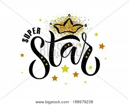 Vector Illustration Of Super Star Text For Boys/girls Clothes Design. Inspirational Quote Card/invit