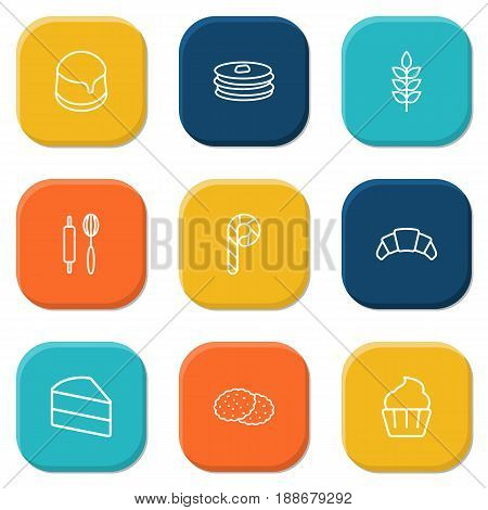 Set Of 9 Bakery Outline Icons Set.Collection Of Cupcake, Pancakes, Wheat And Other Elements.