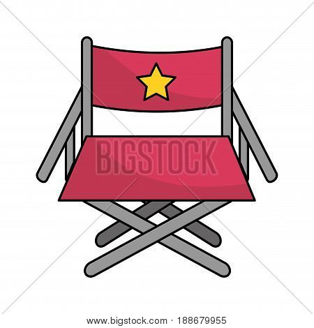 director seat to cinematography production, vector illustration