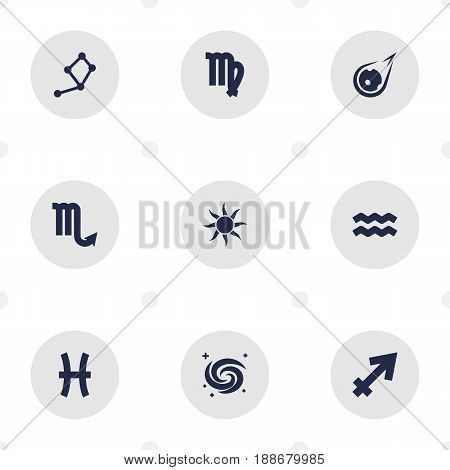 Set Of 9 Astronomy Icons Set.Collection Of Fishes, Virgin, Horoscope And Other Elements.