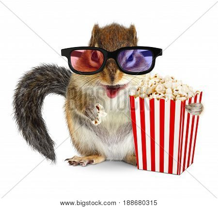 Funny animal chipmunk watching movie with popcorn and glasses