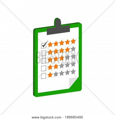 Clipboard With Rating Symbol. Flat Isometric Icon Or Logo. 3D Style Pictogram For Web Design, Ui, Mo