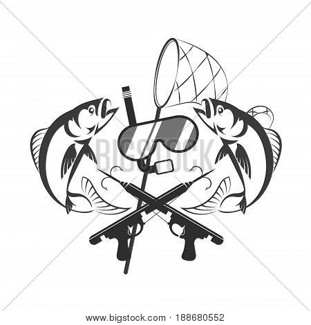 Underwater hunting design. Mask for diving and scuba gun silhouette.