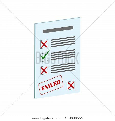 Exam Fail Symbol. Flat Isometric Icon Or Logo. 3D Style Pictogram For Web Design, Ui, Mobile App, In
