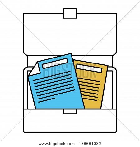 color sectors silhouette of opened executive briefcase with documents vector illustration