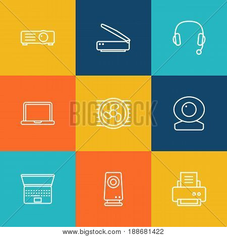 Set Of 9 Computer Outline Icons Set.Collection Of Cooler, Web Cam, Headphone And Other Elements.