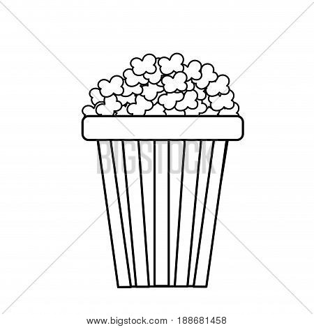 line delicious and salty popcorn to eat in the cinema, vector illustration