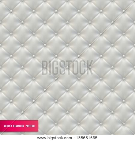 Upholstery Seamless Pattern. White Leather sofa vector Textured Background.