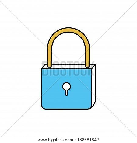 color sectors silhouette of padlock icon vector illustration