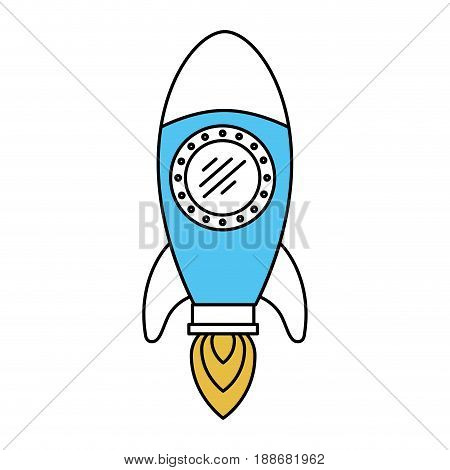 color sectors silhouette of space rocket vector illustration