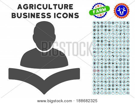 Reader Boy gray icon with agriculture commercial pictogram clipart. Vector illustration style is a flat iconic symbol. Agriculture icons are rounded with blue circles.