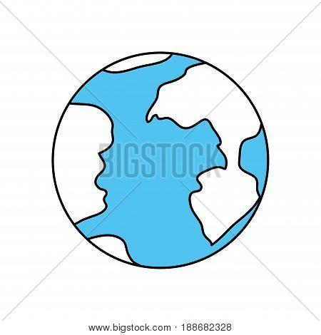 color sectors silhouette of earth globe icon vector illustration
