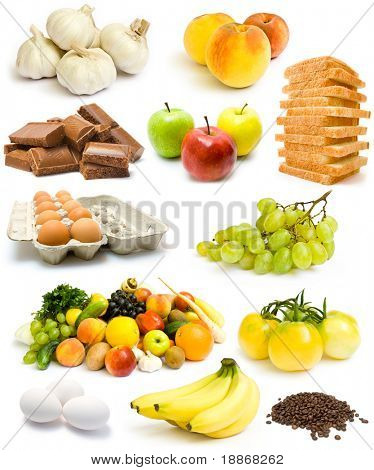Collection of fruits and vagetables isolated on white background