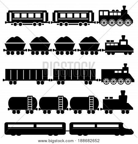Train with wagons, railroad and subway illustrations