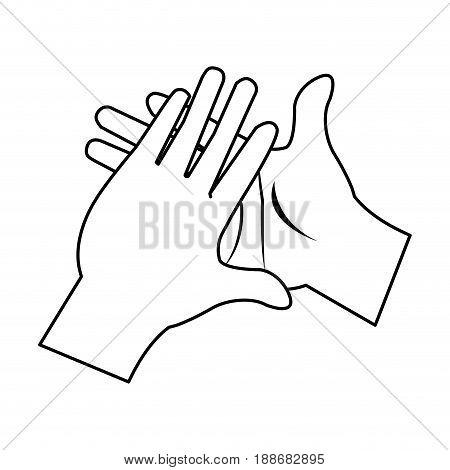 cartoon man hands clap gesture vector illustration