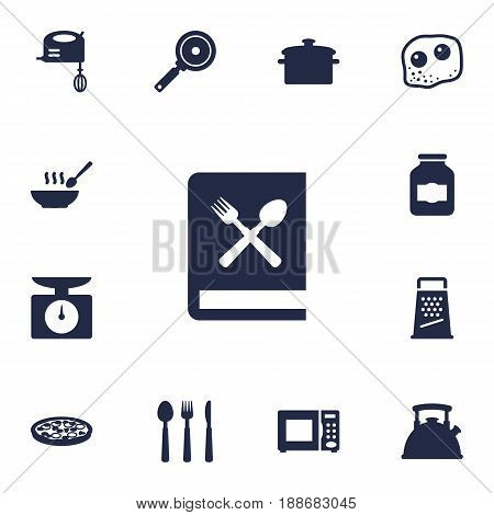 Set Of 13 Cooking Icons Set.Collection Of Non-Stick, Silverware, Broth And Other Elements.