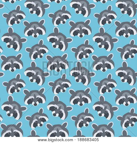 Raccoons Seamless vector pattern with flat raccoon animals swatch inside