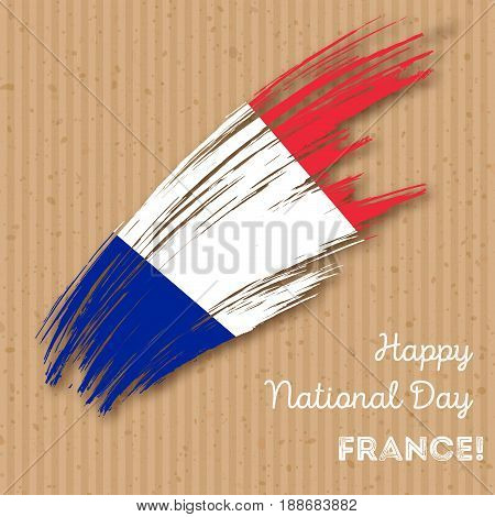 France Independence Day Patriotic Design. Expressive Brush Stroke In National Flag Colors On Kraft P