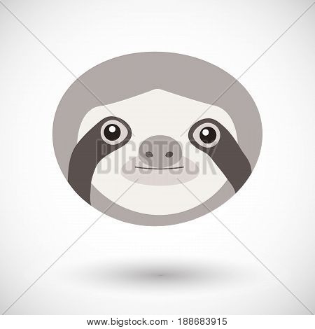 Sloth icon Flat design of animal head isolated on the background with round shadow vector illustration