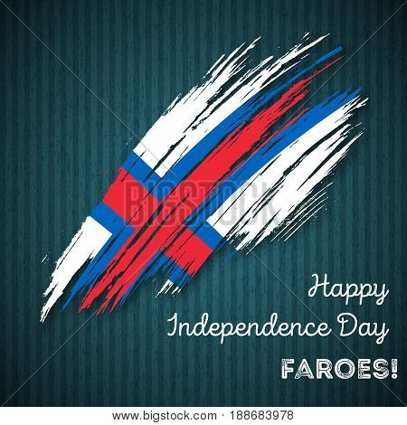 Faroes Independence Day Patriotic Design. Expressive Brush Stroke In National Flag Colors On Dark St