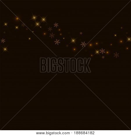 Sparse Starry Snow. Top Wave On Black Background. Vector Illustration.
