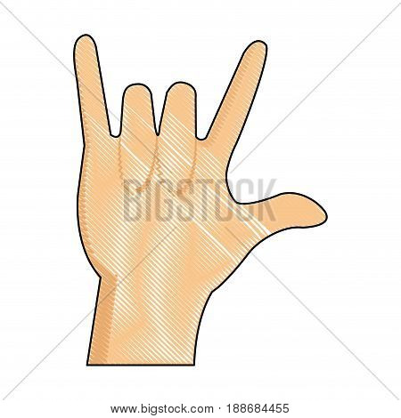 drawing hand man rock n roll gesture music icon vector illustration