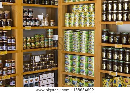 MARMARIS, TURKEY - 2 MAY , 2017: Shelves store specialized for the sale of honey bee pine and flower