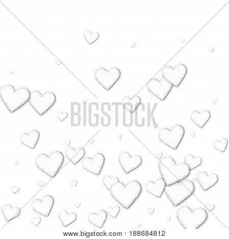 Cutout White Paper Hearts. Bottom Gradient With Cutout White Paper Hearts On White Background. Vecto
