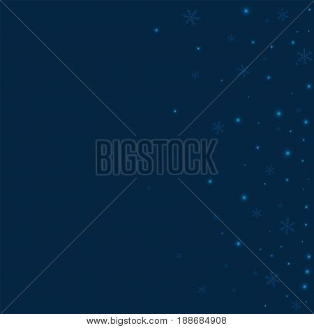 Sparse Glowing Snow. Scatter Right Gradient On Deep Blue Background. Vector Illustration.