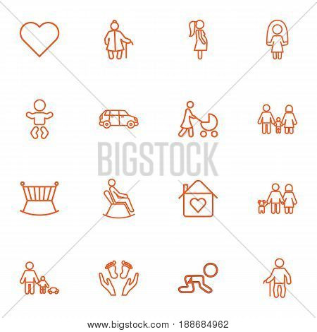 Set Of 16 Relatives Outline Icons Set.Collection Of Skipping Rope, Care, Family And Other Elements.
