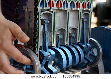 Model of the gasoline combustion engine that shows inside of the combustion engine, pistons, cylinders, valves