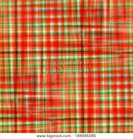 Red and green tartan fabric texture. Seamless pattern. Watercolor illustration.