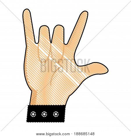 drawing hand man with bracelet rock n roll gesture vector illustration