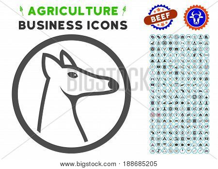 Rounded Fox Head gray icon with agriculture commercial pictogram kit. Vector illustration style is a flat iconic symbol. Agriculture icons are rounded with blue circles.