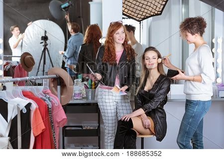 Make-up Artist Preparing Model