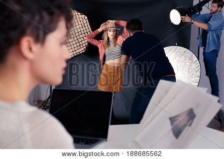 Photographer Working With Model