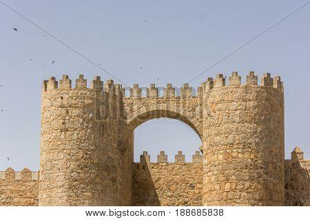San Vicente Gate And Walls Of The Historic City Of Avila, Castilla Y Leon, Spain
