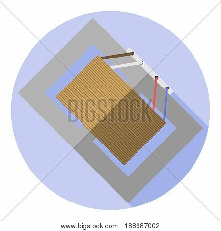 Vector image of a voltage transformer on a round background