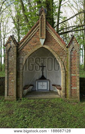 Altar On Waldfriedhof (forest Cemetery) In Dambeck Near Greifswald, Germany
