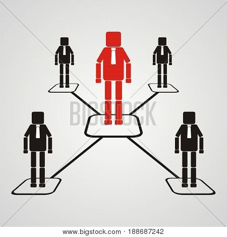 The teamwork concept. Leadership with square head business teams symbol. Flat Vector illustration.