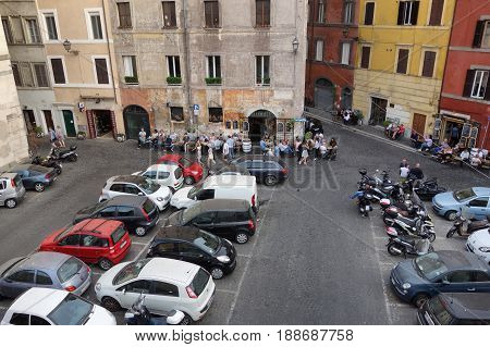 ROME ITALY - MAY 18 2017: local life during the happy hour at Piazza dei Coronari square