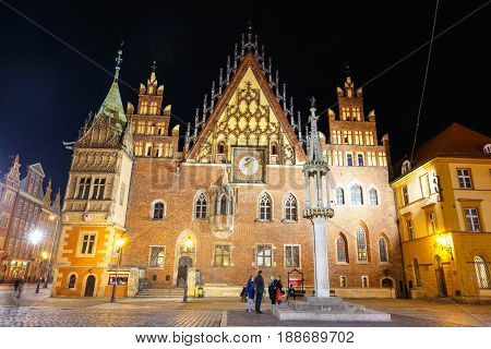 Wroclaw, Poland, January 27, 2016: Night View Of Market Square And Town Hall In Wroclaw. Wroclaw Is