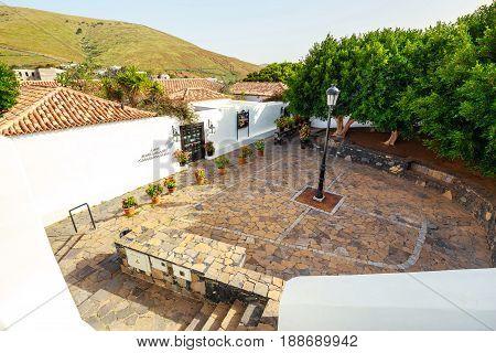 Fuerteventura, Betancuria, April 01, 2017: Central Square In Betancuria Village On Fuerteventura Isl