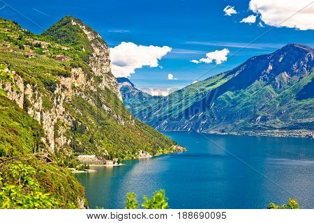 Lago Di Garda And High Mountain Peaks View
