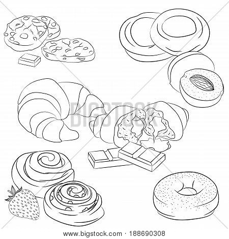 Vector line art illustration with food. Set with various baking. Illustration for menu cookbook or coloring book. Sketch isolated on white background